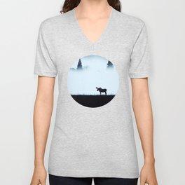 The moose - minimalist landscape Unisex V-Neck