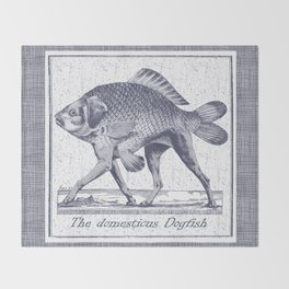 IF FISHES HAD LEGS (navy) Throw Blanket