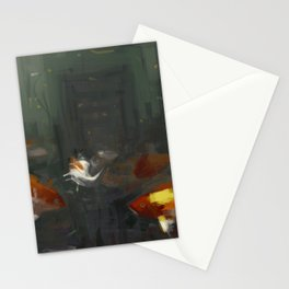 Fish moving under water city old ruins aftemath illustration painting Stationery Cards