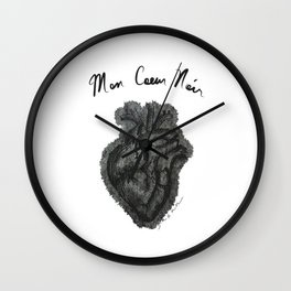 """Mon Coeur Noir "" (My Black Heart) - Original Artwork by Denise Sagun Wall Clock"