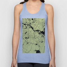 Amsterdam Yellow on Black Street Map Unisex Tank Top