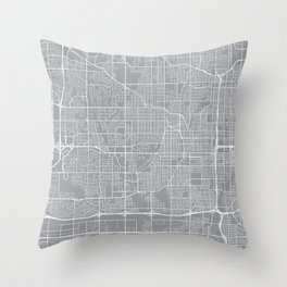 Omaha Map, Nebraska USA - Pewter Throw Pillow