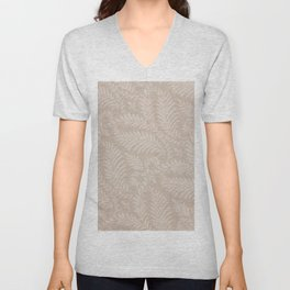 Fancy Light Tan Fern Leaves Scroll Damask on Taupe Unisex V-Neck