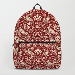 Pheasant and Hare Pattern, Deep Red and Cream  Backpack