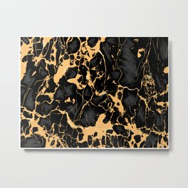 Black & Gold Luxury Gothic Marble Texture Surface 48 Metal Print