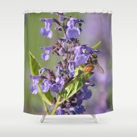 bee Shower Curtains featuring Bee by Stecker Photographie