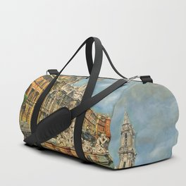 Piazza Navona fountain through oil without restoration Duffle Bag