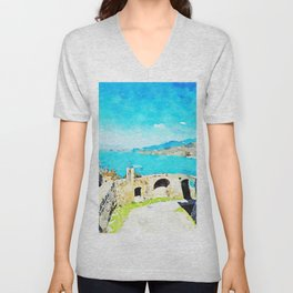 Agropoli: the sea and the Cilento mountains seen from the castle Unisex V-Neck