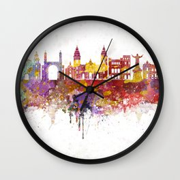 Lima skyline in watercolor background Wall Clock