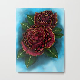 Zentangle Inspired Art- Tattoo Rose Colored Metal Print