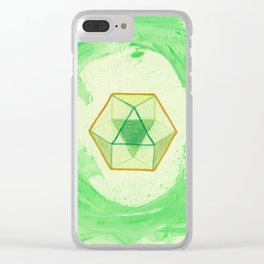 Cuboctahedron ~ Green & Gold Clear iPhone Case