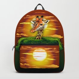 Giraffe on Wild African Savanna Sunset Backpack