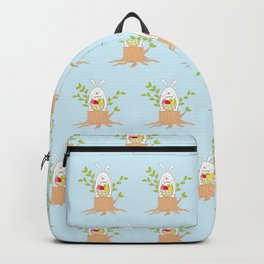 funny rabbit on the stump Backpack