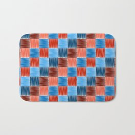 background squares blue red embroidery Bath Mat