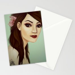 Girl with flower  Stationery Cards