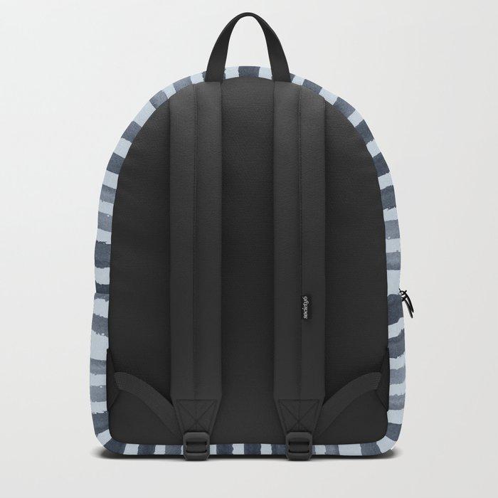 Simply Shibori Stripes Indigo Blue on Sky Blue Backpack