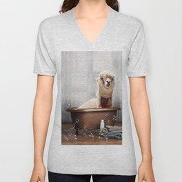 Llama in Vintage Bathtub Unisex V-Neck