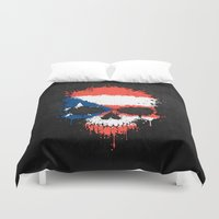 puerto rico Duvet Covers featuring Flag of Puerto Rico on a Chaotic Splatter Skull by Jeff Bartels