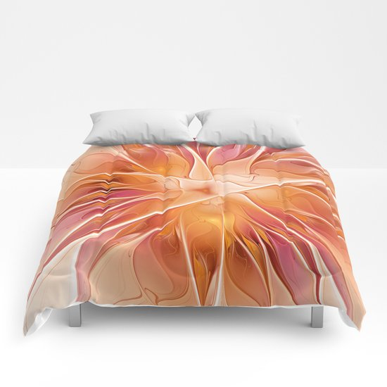 Floral Impression, Abstract Fractal Art Comforters