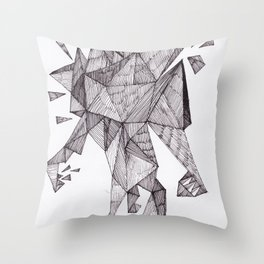Robot trapped in triangles Throw Pillow