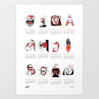 calendar 2015 Art Prints featuring Calendar 2015 by Johanna Olga