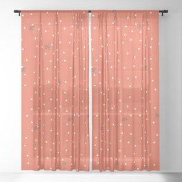 flying dandelion seeds simple Christmas seamless pattern and White Confetti on Coral Orange Background Sheer Curtain