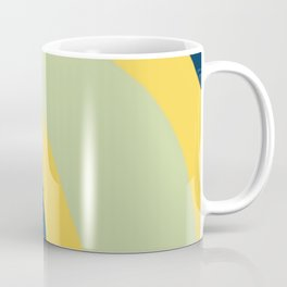 Navy Blue, Yellow and Sage Abstract Shapes Coffee Mug