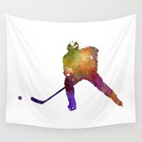 hockey Wall Tapestries featuring Hockey skater in watercolor by Paulrommer