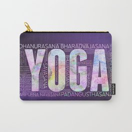 Yoga Asanas  Word Art  on Purple Carry-All Pouch