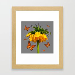 ORANGE MONARCH BUTTERFLIES CROWN IMPERIAL FLOWER Framed Art Print