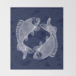 Indigo Navy Blue Koi Throw Blanket