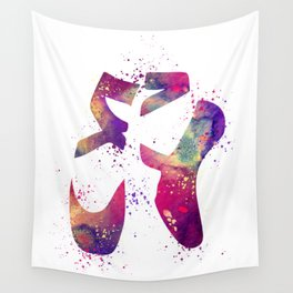 Ballet Shoes Watercolor Artwork Wall Tapestry
