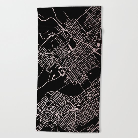 Wilkes-Barre Rose Gold and White Map Beach Towel