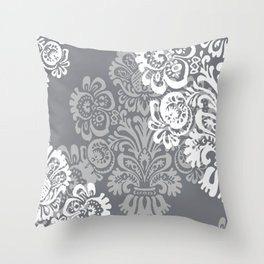 Gray + Silver Damask Throw Pillow