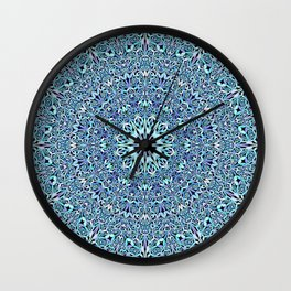 Light Blue Floral Life Mandala Wall Clock