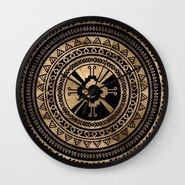 Hunab Ku Mayan symbol black and gold Wall Clock