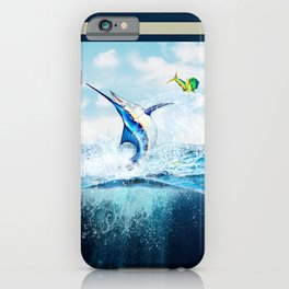 Blue Marlin Jumping After Mahi-Mahi (dolphin fish) iPhone Case