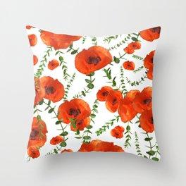 Red Poppies Eucalyptus Dream Pattern #1 #floral #decor #art #society6  Throw Pillow