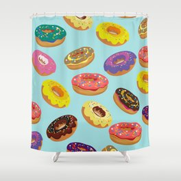 Donuts Pattern Kitchen Home Decor Sky Blue Art Print Donuts Poster Decoration Cartoon Graphic Design Shower Curtain