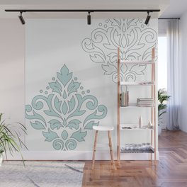 Scroll Damask Art I (outline) Blue Gray Wt Wall Mural