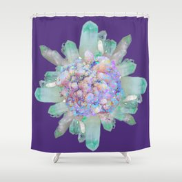 SPARKLING GREEN & PURPLE QUARTZ CRYSTALS PURPLE ART Shower Curtain