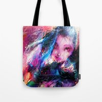 league of legends Tote Bags featuring League of Legends - Jinx by Raditya Giga