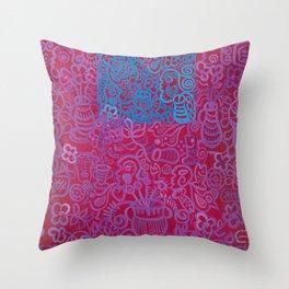 Egyptian Series Blue Maroon by Gert Mathiesen Throw Pillow