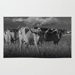 Texas Longhorn Steers under a Cloudy Sky in Black & White Rug