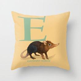E is for Elephant Shrew: Under Appreciated Animals™, unusual creatures ABC nursery decor for kids Throw Pillow