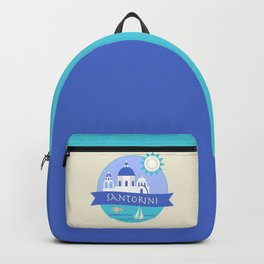 Santorini Greece Badge Backpack