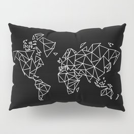 White on Black Geometric Low Poly Map of The World / Polygon geometry Pillow Sham