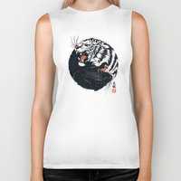 tiger Biker Tanks featuring Taichi Tiger by Steven Toang