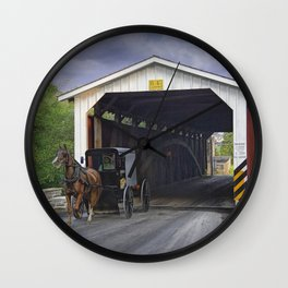 Amish Buggy with covered bridge Wall Clock