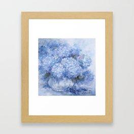 Hydrangeas in Blue Framed Art Print